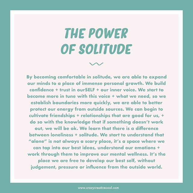 〰️ Week 3 of our #mentalwellnesschallenge! In this week's newsletter we're talking about loneliness + how to turn solitude into power! We've created a free worksheet which will be inside the mailer tonight so if you don't want to miss out, click the link in our bio to make sure you're signed up!⁣ ⁣ Have you ever felt alone in a crowd? Completely disconnected from the people around you - even if you've know them for years? Maybe you feel like you're growing apart from your long-time friendship group, not getting along with your colleagues or you might just feel like a stranger to your own self! As upsetting as it seems at the time, this can be a very powerful experience. Loneliness can be a strong sign of the start of huge personal growth. It's not an easy thing to go through, it's overwhelming, isolating...scary! A time where you'll probably question who you are and everything you ever thought to be true! ⁣ ⁣ Sometimes, we need to work through the root issues of loneliness to find out what's happening at a deeper level so we can heal and grow. Turn your loneliness into power (i.e: SOLITUDE!) and understand how you can use this experience as a tool to build character, boundaries and more meaning in your life. ⁣ ⁣ If we start to switch our perspective from being isolated in loneliness (which is seen as something that is imposed on us, even when we are doing the distancing from others) to purposely cultivating solitude (which is something we have chosen so we can focus on ourSELF) we start to see the benefits of spending more time alone. Having clear space where we can generate new ideas, refresh our minds + replenish ourselves. Don't be afraid to be alone with your own thoughts, it will be uncomfortable at first, but you will learn so much about yourself and what you really want + need!⁣ ⁣ IMPORTANT NOTE:⁣ There is a big difference between loneliness + solitude if you are suffering deeply with your mental health, as feeling alone can be dangerous. It can be a comfort blanket, a way to hide yourself + the way you really feel from the people who love + care for you. Please reach out to someone if this resonates because you don't have to do this alone. #mentalhealth