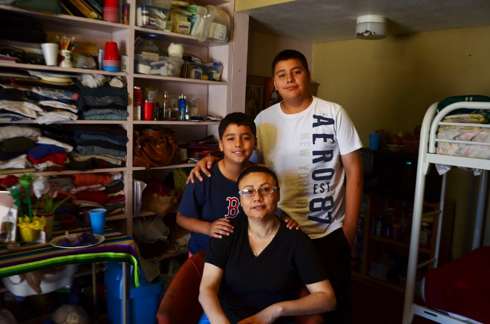Rosa Robles Loreto with her two sons, Gerardo Jr., right, and José Emiliano, left. Her boys moved in with her at the church during their summer break. Robles Loreto announced Immigration and Customs Enforcement closed her case on Nov. 11, 2015. She left sanctuary shortly after.