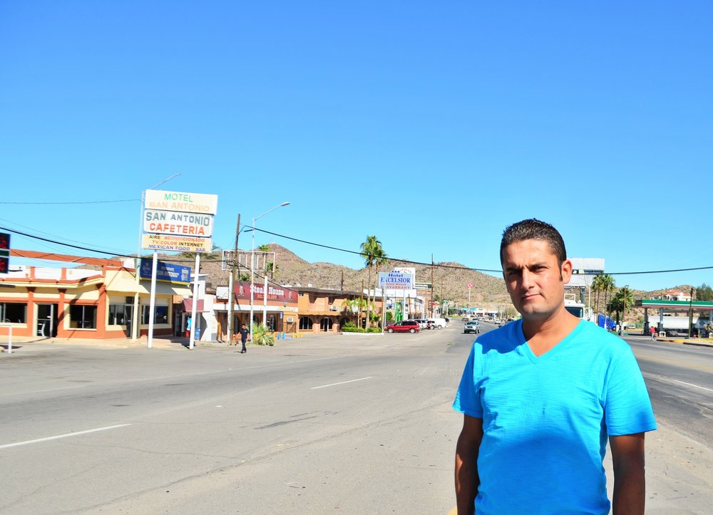 Cesar Leyva in Sonoyta, Sonora, as close as he could get to the U.S.-Mexico border.
