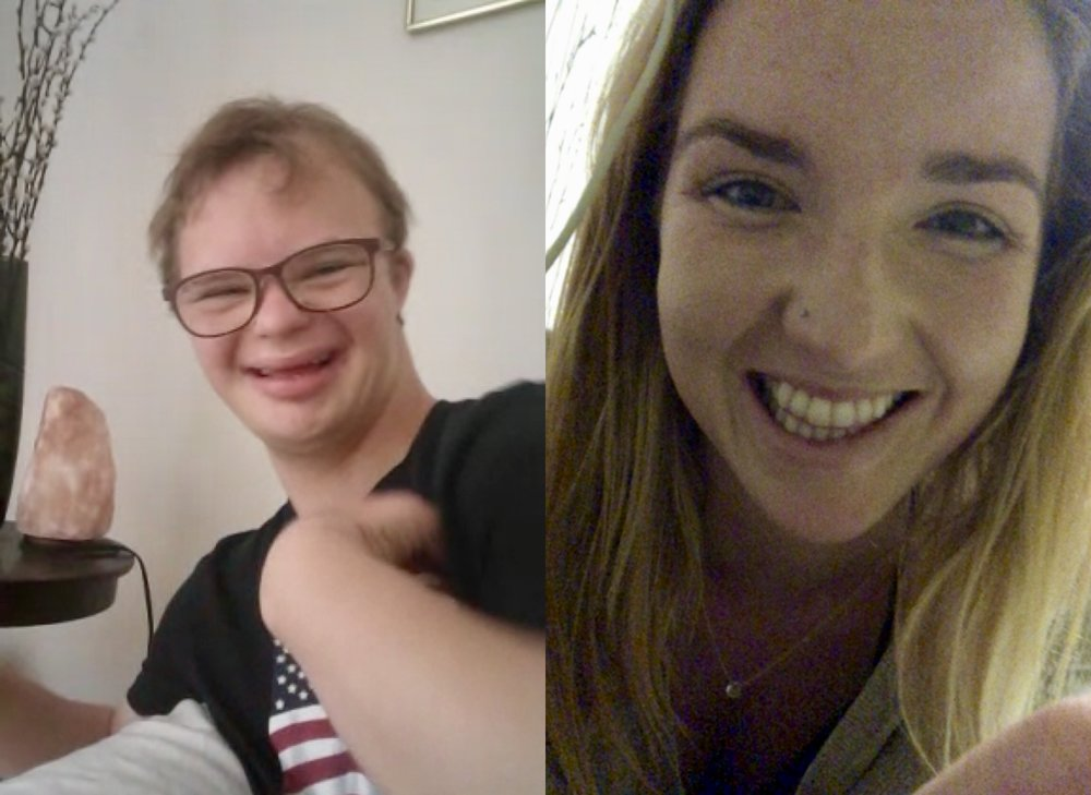 Videochatting with Michael in Europe a few days later after ~10 minutes… finally got a smile!
