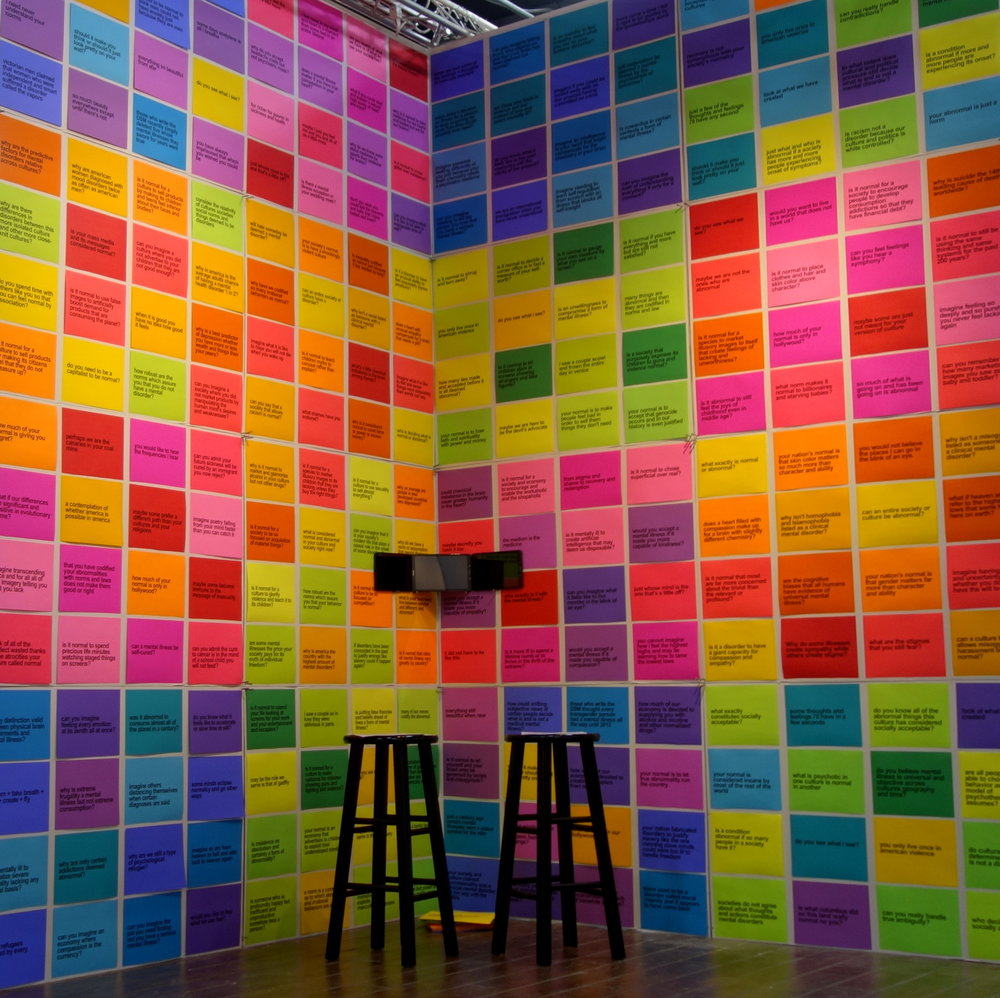 Installation view, SOME FEELINGS AND THOUGHTS I'LL HAVE ANY SECOND, New York City, November 7-10, 2017. 12 feet x 12 feet x 8 feet. 256 text elements on 256 pieces of paper in 25 colors. Along with a conceptual video and performance art, the installation explored just what is, and is not, normal and abnormal in society.