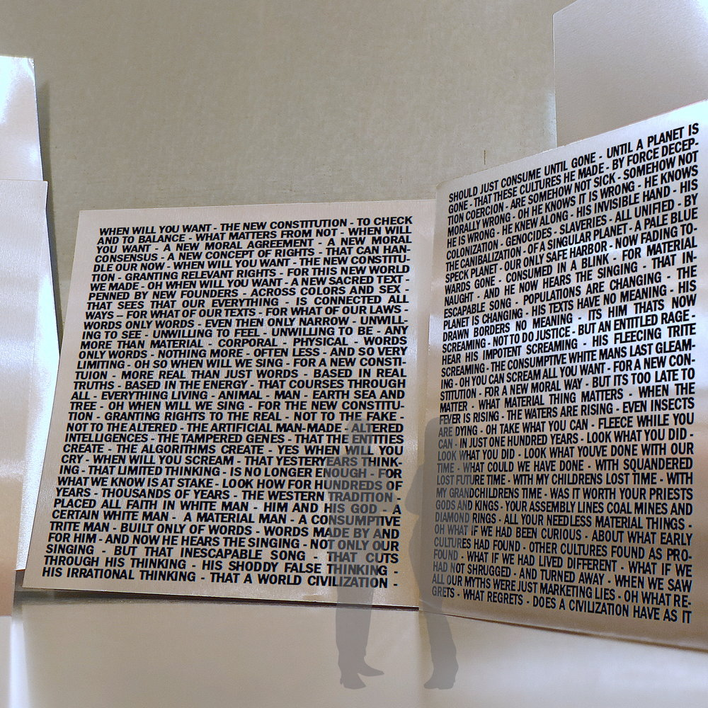 WHEN WILL YOU WANT THE NEW CONSTITUTION, conceptual mock up, proposed as text on metal, approx. 15' x 25', 2019.