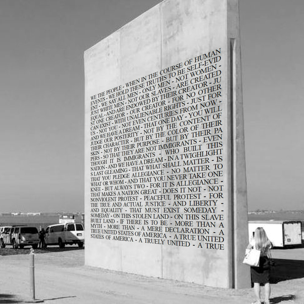 WE THE PEOPLE, with additional text, conceptual mock up, proposed on freestanding wall, 2018.