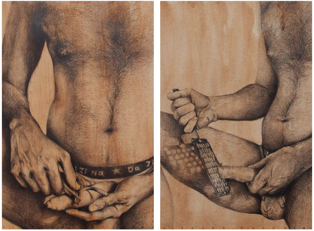 "Above: 'Salad Season Series' selected pieces. Explores the pain of hidden identity. ""I wanted to show how we feel the pain. It's a guy peeling, cutting the carrots, but put in a position that you feel he is cutting his body, to show the pain someone that is not accepting his sexuality, his identity."""