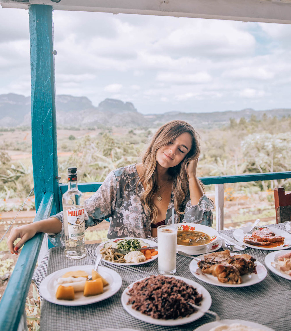 Just some of the amazing dishes served as part of the set menu at Finca Agroecologica el Paraiso, with epic views of the Viñales Valley.