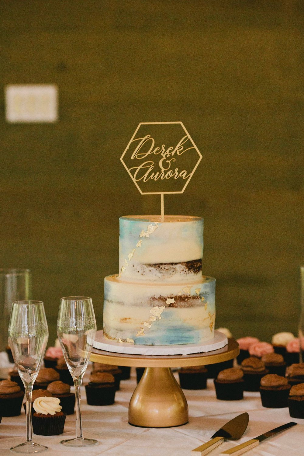 Bluejay's Bakery Wedding Cake Blue with Gold Flake.jpg