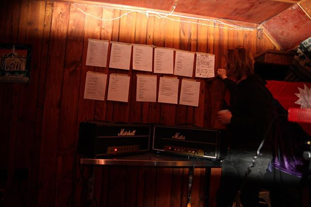 Contemplating the lyric wall - Songs from the SpeakEasy out Tmw!!! @laces_out_dan @solomonsilber #roots #rocknroll #music