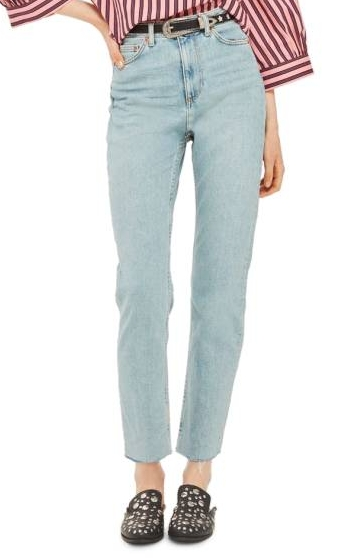 Raw Hem Straight Leg Jeans