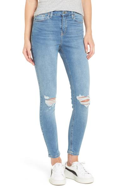 Moto Jamie Ripped High Waist Ankle Skinny Jeans