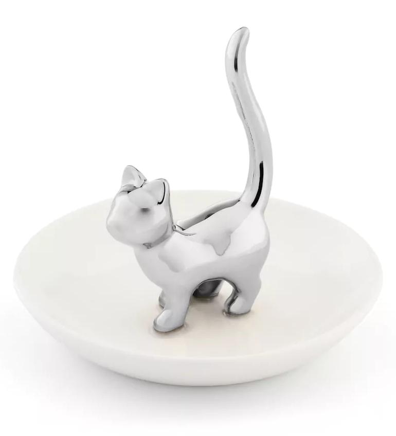 Silver Cat Jewelry Dish