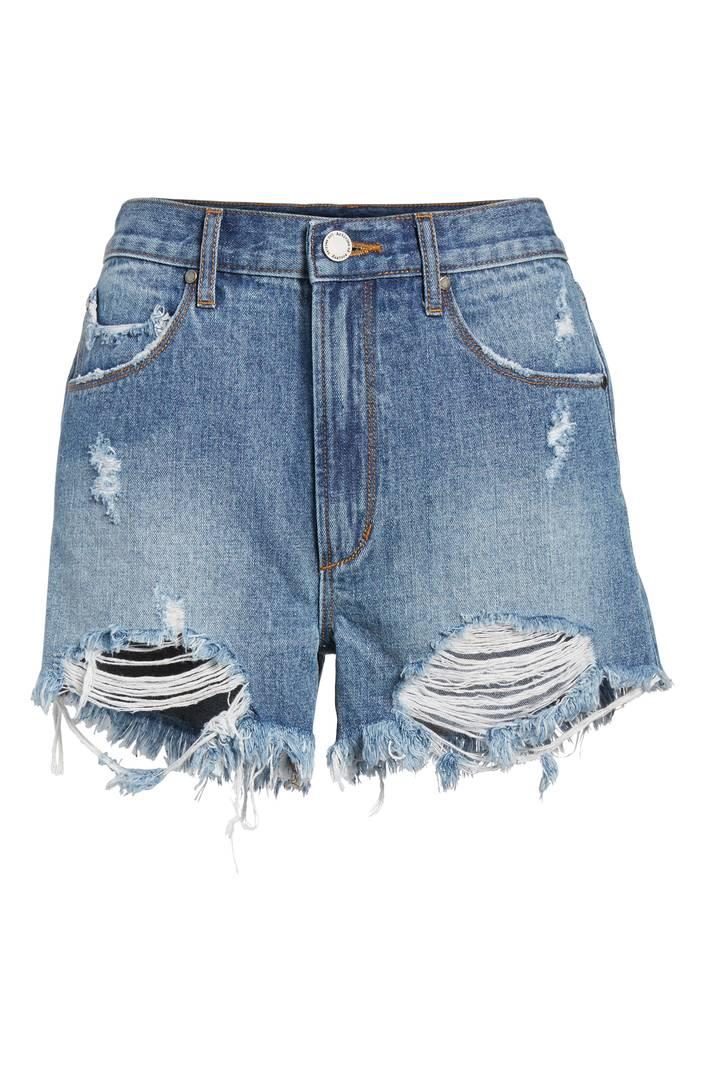 Meredith Destroyed Hem Denim Shorts