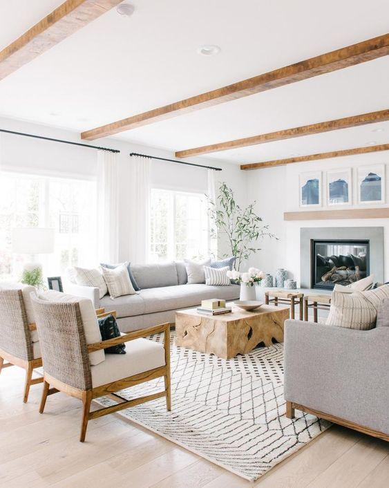 beams, open concept, farmhouse
