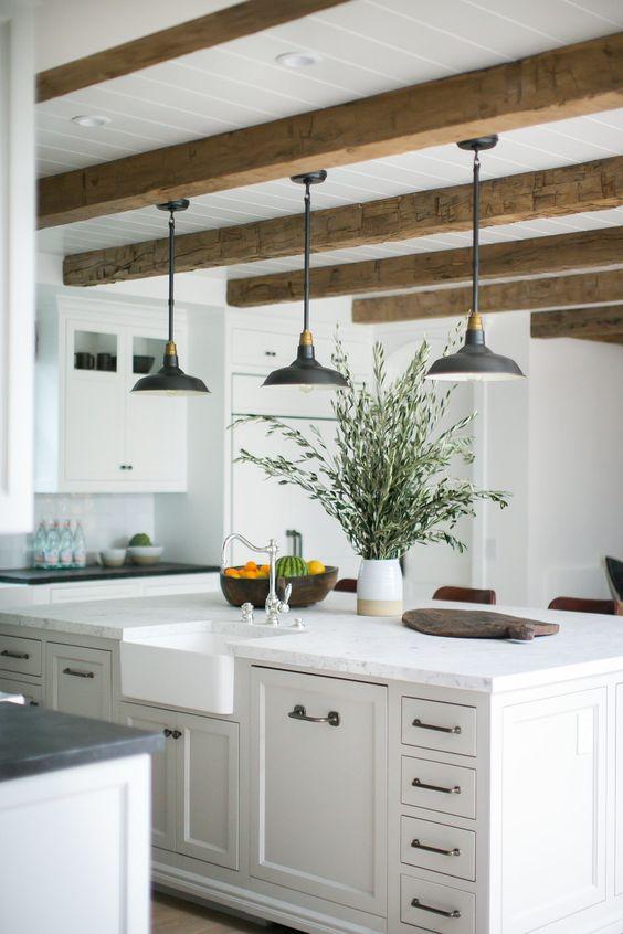 beams, rustic, shiplap, gray cabinets