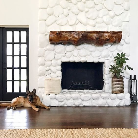 river rock, fireplace, white washed, rustic