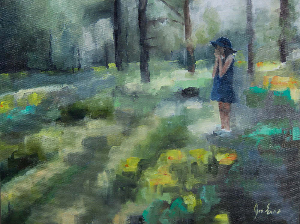 """Sunflower Meadow 2"" is an oil painting by Joe Enns from a photo taken by his friend and coworker of her daughter in an Okanagan meadow."