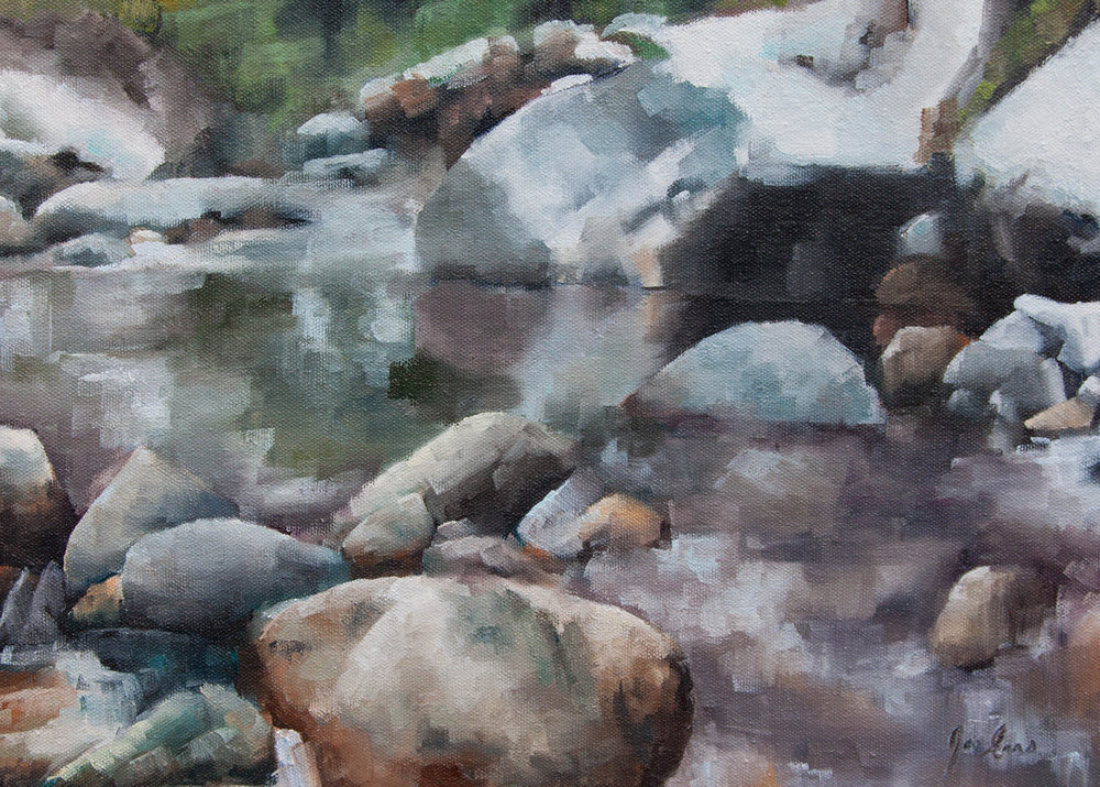 """Shuttleworth Winter"" is an oil painting of Shuttleworth Creek in Okanagan Falls, British Columbia."