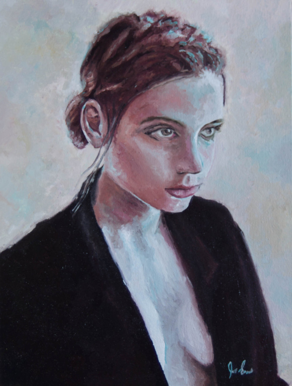 """""""Not Impressed"""" is a portrait oil painting by Joe Enns done from a photo that Joe found online."""