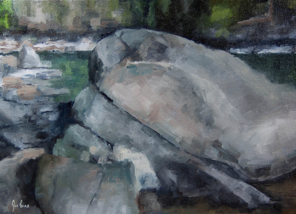 """Similkameen River"" is an oil painting by Joe Enns that depicts boulders along the banks of the Similkameen River near Hedley, British Columbia.."