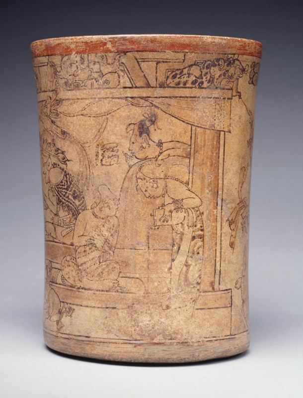 Maya Woman pouring chocolate. The Princeton Vase. Circa 7 - 8th Century AD