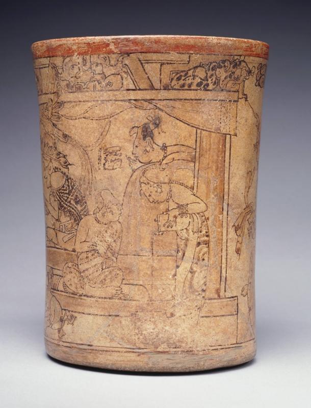 Maya Woman pouring chocolate. The Princeton Vase.