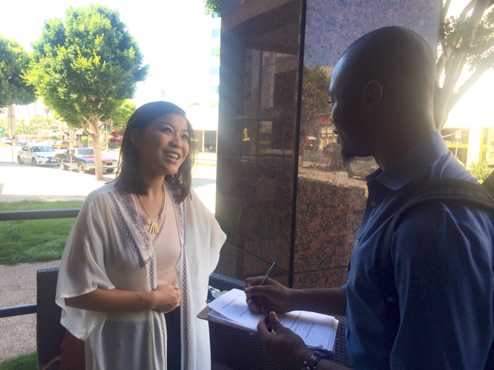Interviewing a potential customer at a Coffee Bean & Tea Leaf in Los Angeles