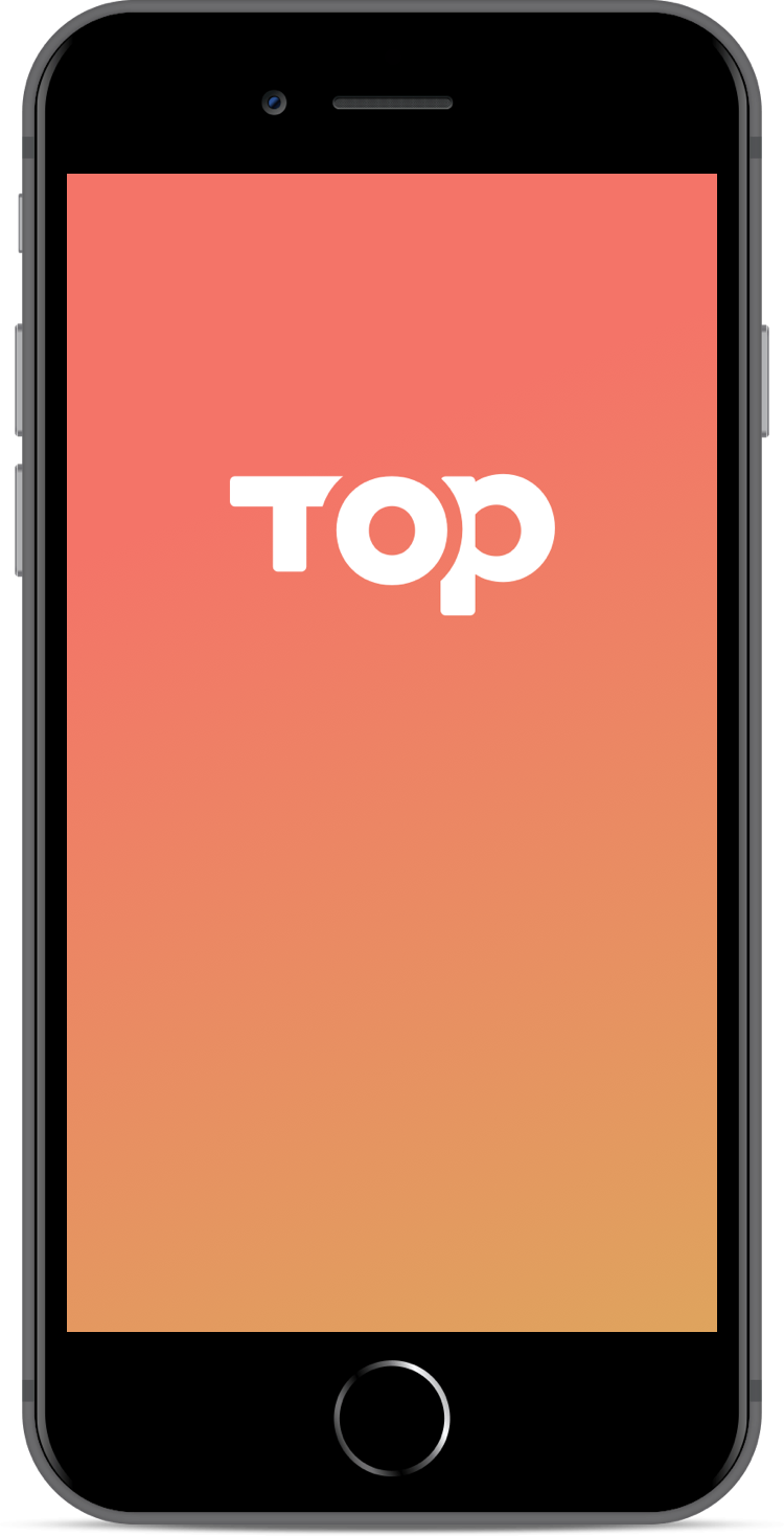 A simple launch screen presents the Top logo atop a warm gradient, which represents increasingly important goals.