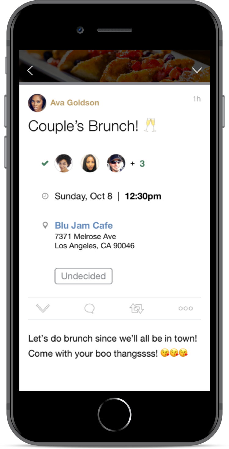 After she taps on the invitation notification, a fully expanded Plug presents detailed event information including full address, RSVP status, and event description.