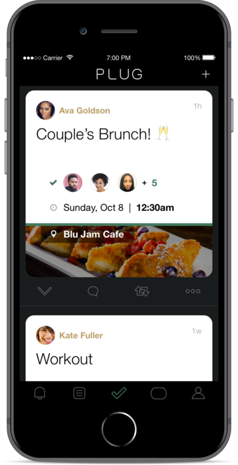 Veronica returns to the Accepted Plugs screen, where she sees Couple's Brunch! 🥂 has been added.