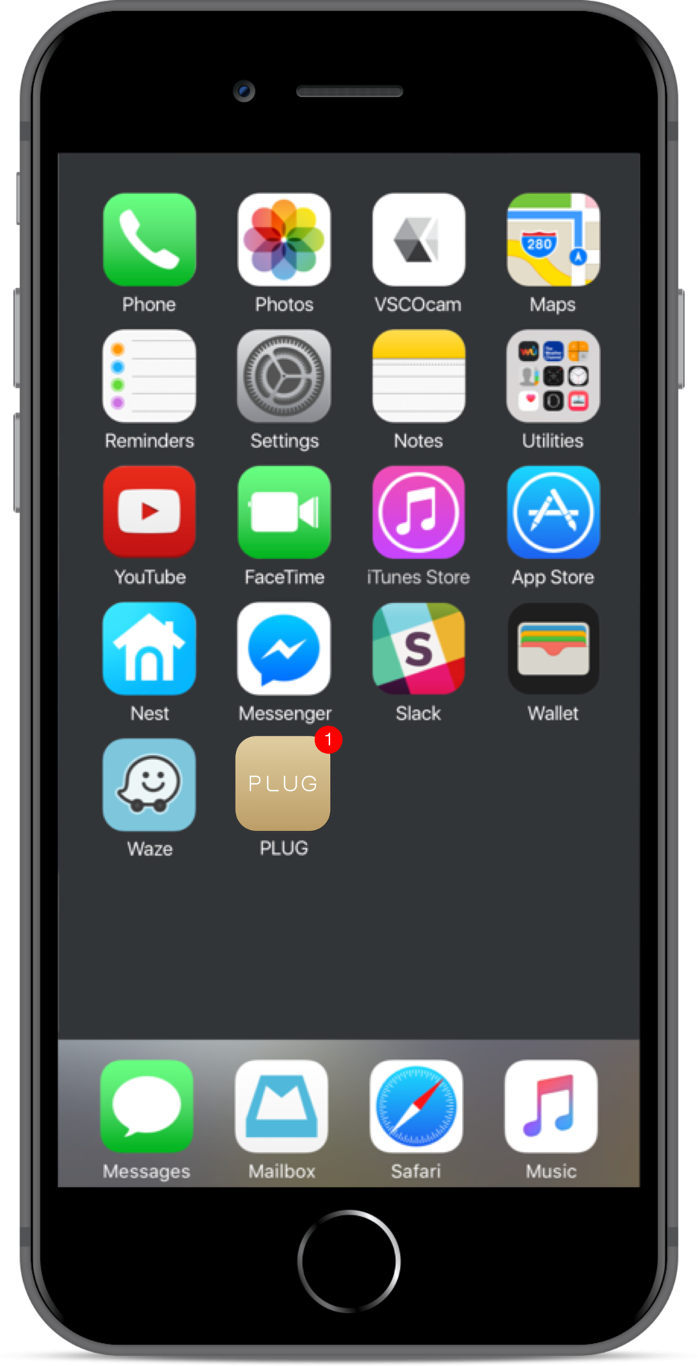 Veronica taps on the conspicuous PLUG app icon on her home screen to launch the app. (The gold color represents the seamless connectivity that PLUG helps facilitate.)