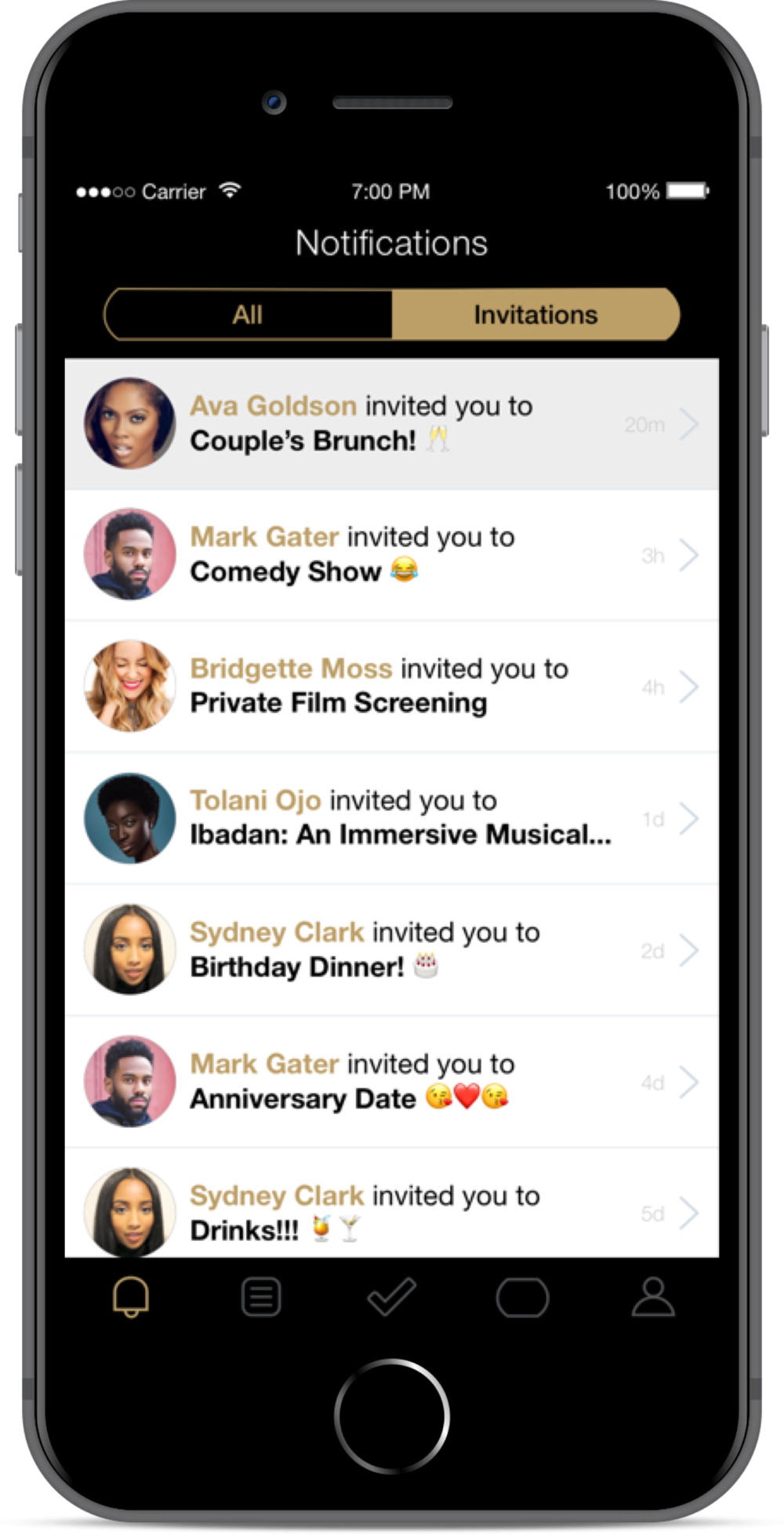 Veronica taps on the notifications icon and sees that her friend Ava invited her to Couple's Brunch! 🥂20 minutes ago.