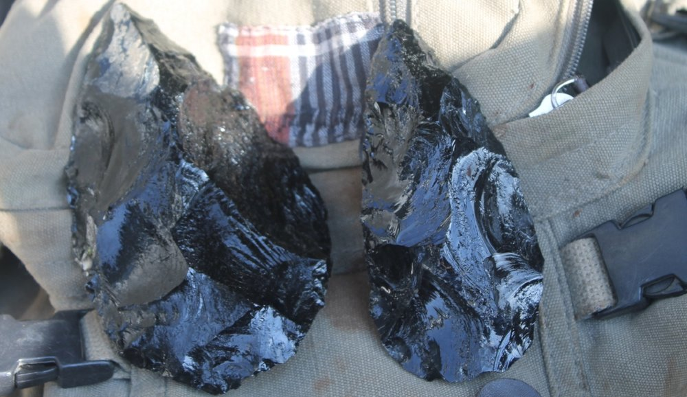 Obsidian handaxes   made by S Goldstein in Naivasha, Kenya.
