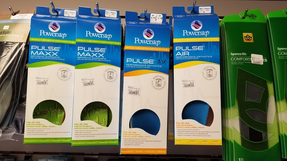 We carry Powerstep and Spenco pre-made orthotics.