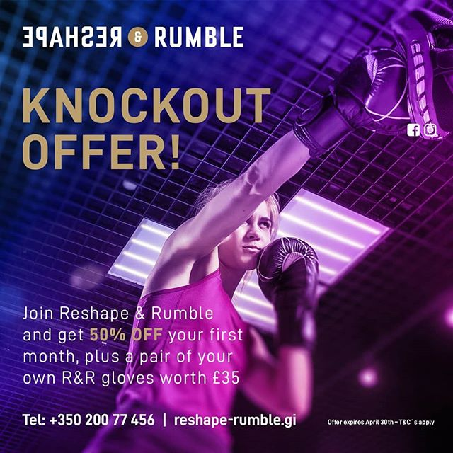 This month the Easter bunny dropped some goodies in R&R.  Come and get yours now!  New joiners get 50% off the first month fee and a pair of R&R profesional boxing gloves. *Offer available until 30th of April only. **T&C's apply  To find out more contact us.  oana@reshape-rumble.gi +350 200 77456  www.reshape-rumble.gi  #easteroffer #easterbunny #offer #limited #boxing #fitness #wegostrong #reshaperumble