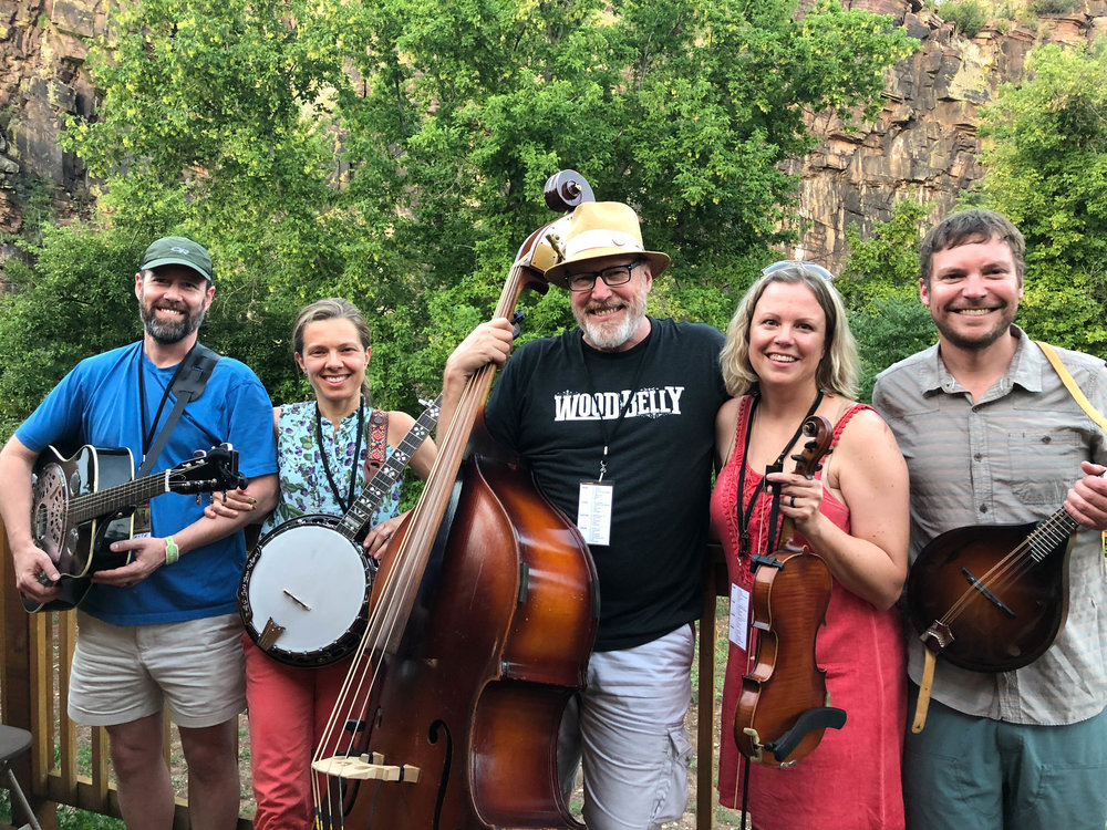 "Author John Pierce [center] with his ""band scramble"" group from Rocky Grass Academy 2018."