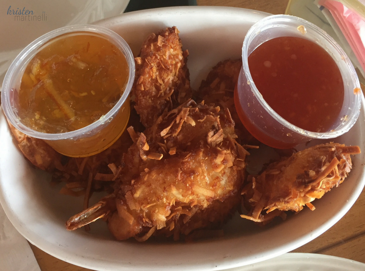 Half a dozen shrimp, hand-breaded with coconut and served with orange marmalade dipping sauces.