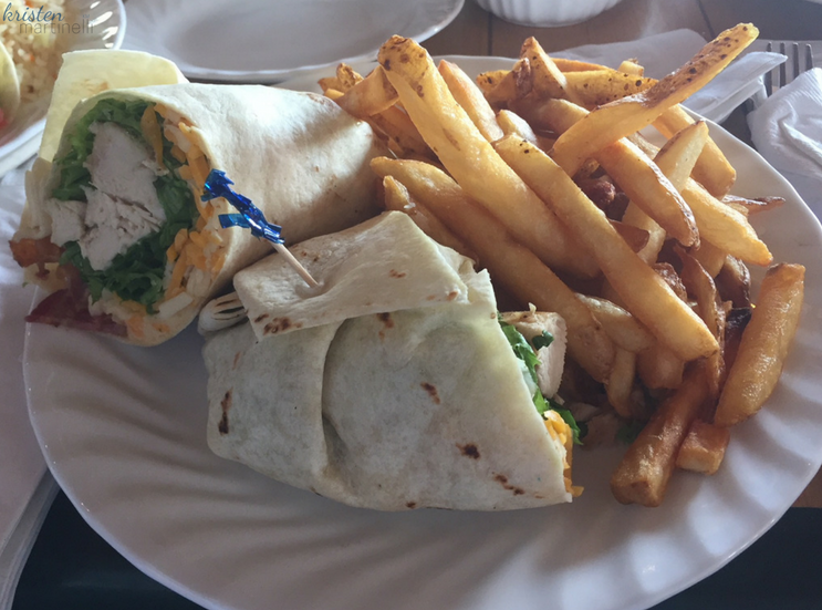 Grilled chicken, lettuce, tomato, cheddar cheese, bacon and chipotle aioli wrapped in a flour tortilla. Served with French Fries.