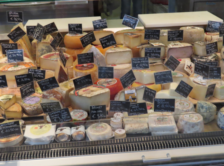 A portion of the cheese case