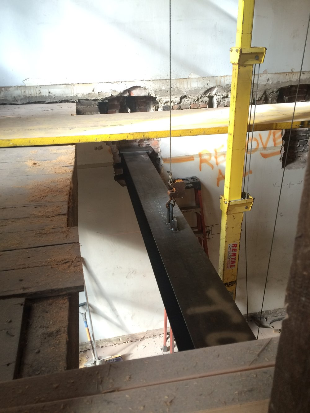Steel girder installation: Upper East Side Apartment renovation