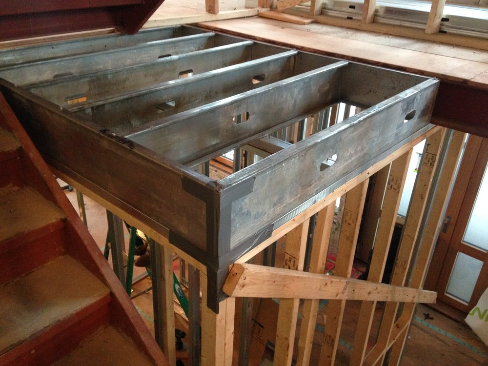 Bulkhead floor framing: Passive House Brownstone