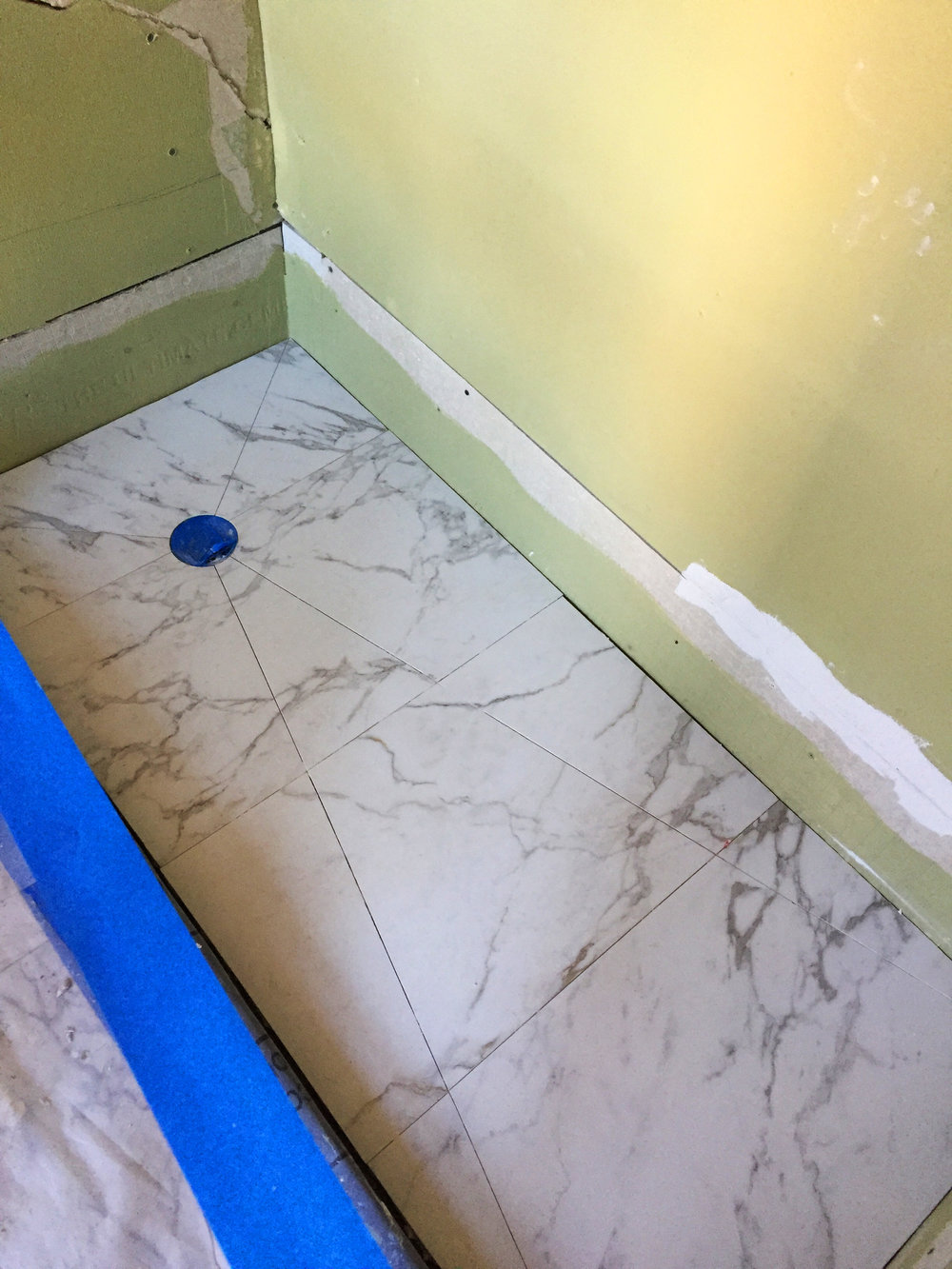 Shower floor installation: Prospect Heights Brownstone