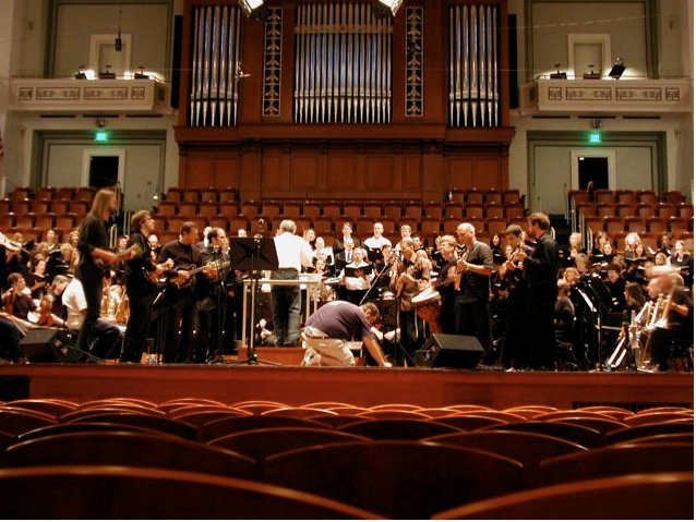 Rehearsing with a mandolin ensemble and the Nashville Symphony