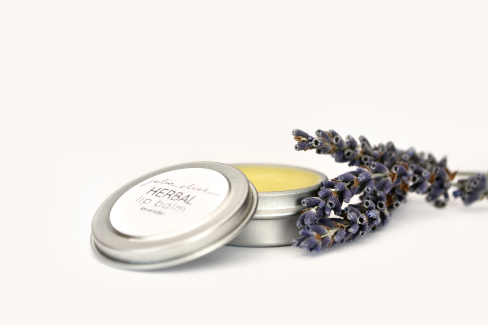 Herbal Lip Balm - LavenderSilky smooth lip balm will infuse lips with deep hydration and healing.Handcrafted in MN. Ingredients: calendula-infused olive oil, shea butter, cocoa butter, coconut oil, beeswax, vitamin e, and essential oil..25 ounce metal tin.