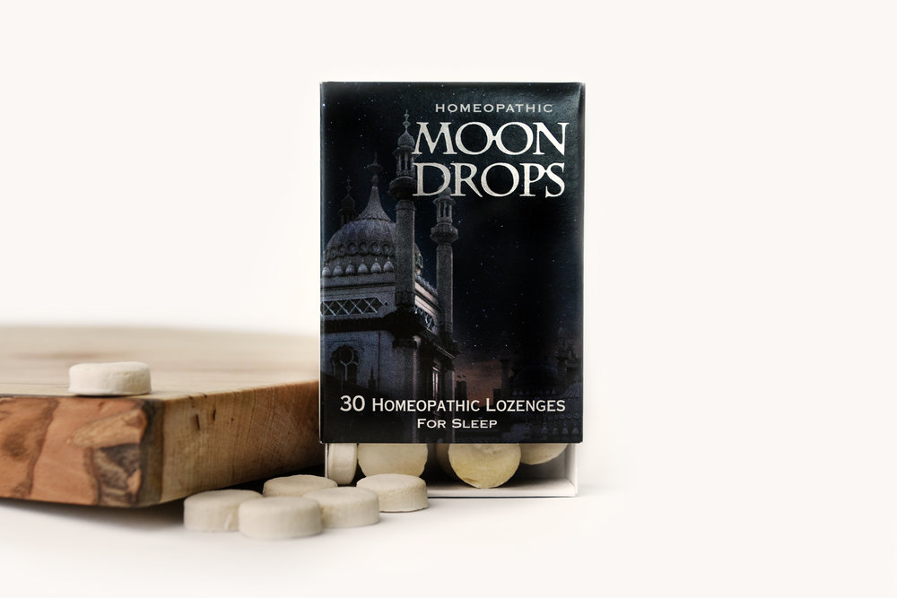 Moon Drops - Homeopathic LozengesFormulation quiets persistent thoughts, eases emotional stress, tones digestion, lessens sensitivity to noise and light, and soothes over-stimulated nerves. Non-habit forming and has no side effects.* Made in MN.