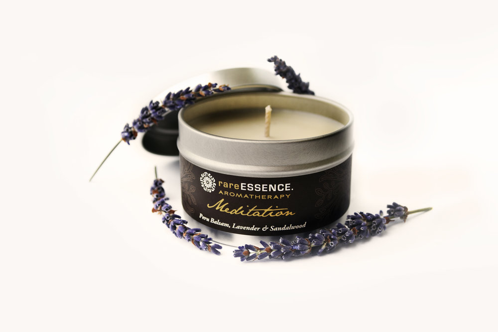 Aromatherapy Candle - MeditationBreathe easy with this powerful blend of frankincense, myrrh, clary sage, Peru balsam, lavender, and sandalwood.Pure, GMO-free soy and beeswax from farms in the USA and all cotton wicks in this handmade candle.