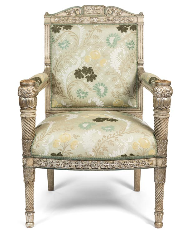 Repro of French Hand Carved Silver Leaf Armchair