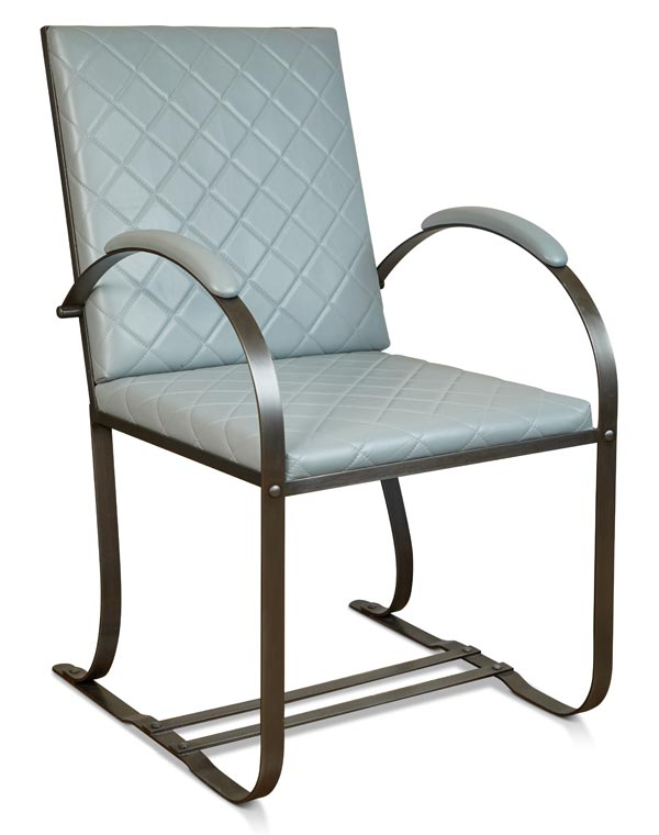 KS Design Quilted Leather Chair w/Gun Metal