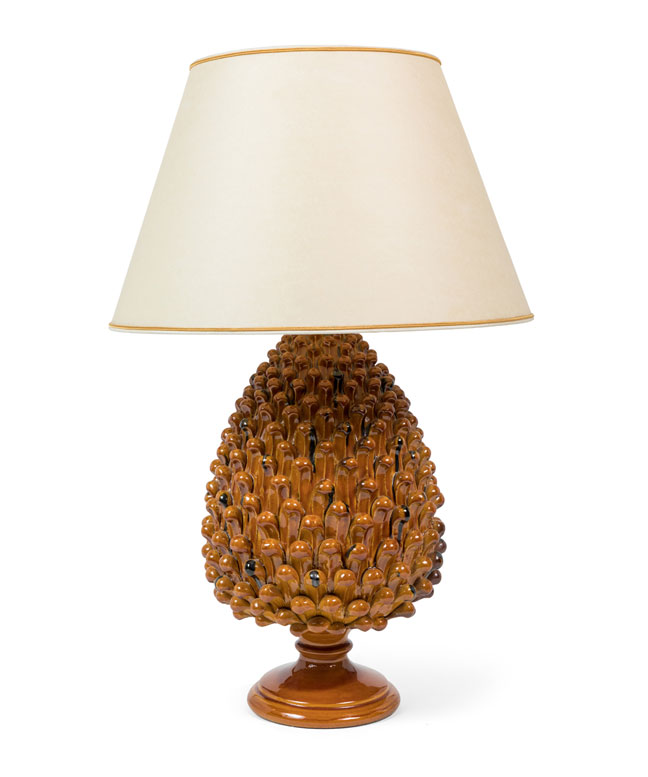 Pair of Italian Ceramic Pineapple Lamps