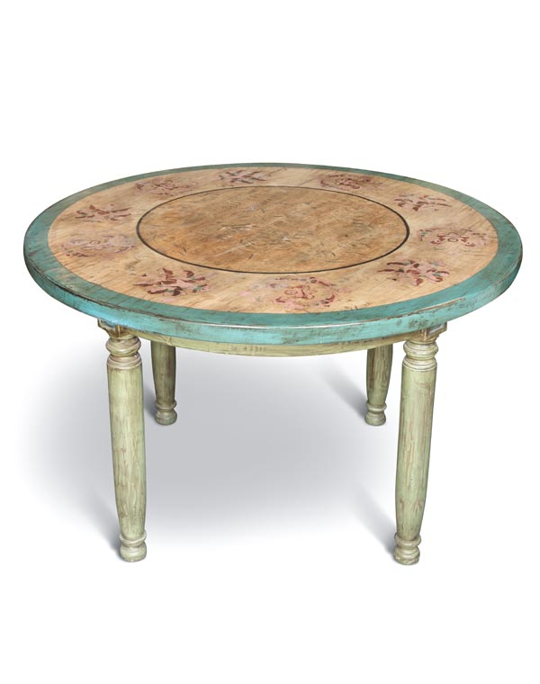 Hand Painted Table w/Carved Tapered Legs