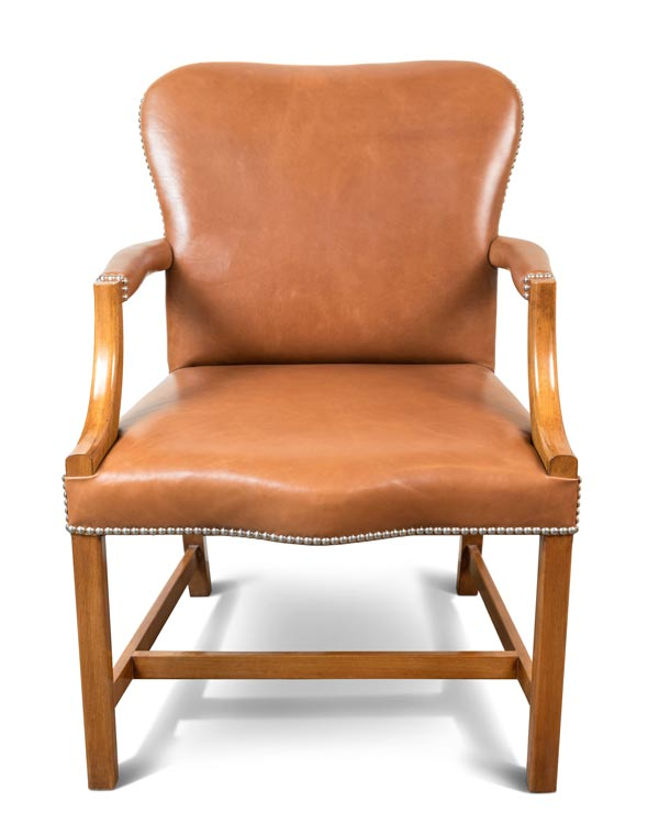 Hand Carved Leather Arm Chair