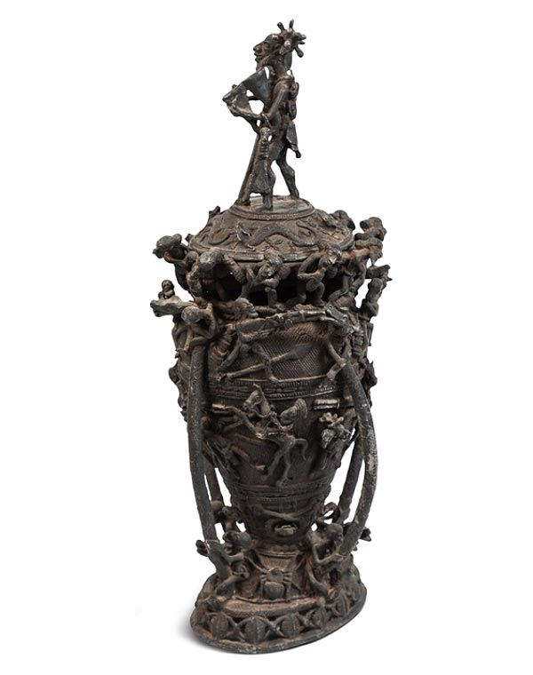 West African One of a Kind Iron Urn